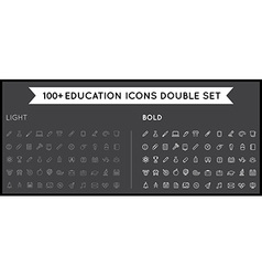 Set of Thin and Bold Education Icons can be used vector image