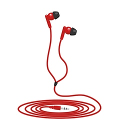 Red music wired headphone vector