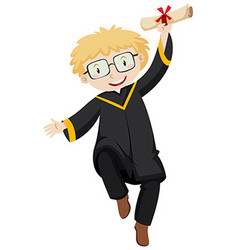 Man in black graduation gown holding degree vector