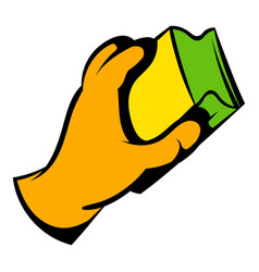 Hand in gloves with rag icon icon cartoon vector