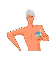 Close-up of man holding wineglass vector