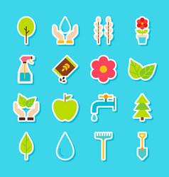 Gardening spring stickers vector