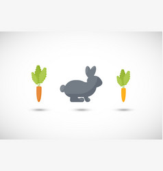 rabbit and carrot flat icon set vector image