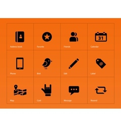 Social icons on orange background vector