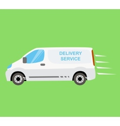 White delivery van on the green background vector