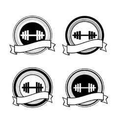Retro bodybuilding badge vector