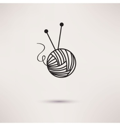 Woolen thread and needles flat design vector