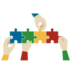 Hands assembling jigsaw puzzle pieces vector