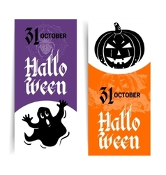 Halloween banners set Hand drawn sketch vector image