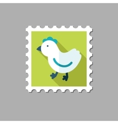 Chicken flat stamp with long shadow vector