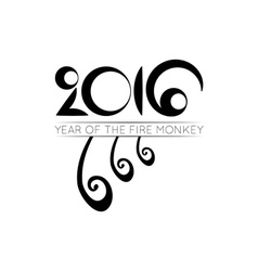 Monkey tails logo of 2016 year vector