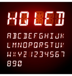 Led digital alphabet on red background vector