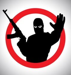 Prohibitory signs silhouette of military man vector