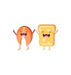 Salmon and toast cartoon friends vector