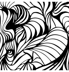 Abstract black and white wavy stripes vector