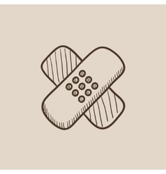 Adhesive bandages sketch icon vector