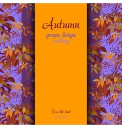 Autumn grape with orange leaves background vector