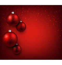 Background with red christmas balls vector image vector image