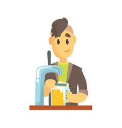 bartender man character standing at the bar vector image
