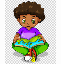 Boy reading storybook on transparent background vector