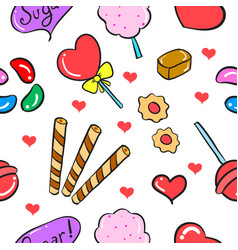 Candy sweet various food doodle style vector