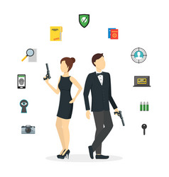 Cartoon spy couple and icons set vector