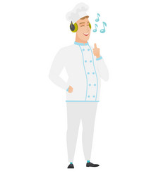 Chef cook listening to music in headphones vector