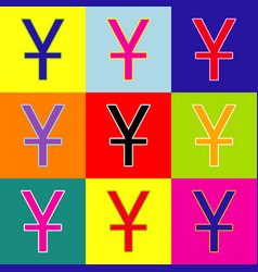 Chinese yuan sign pop-art style colorful vector