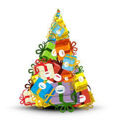 Christmas Tree Made from Gift Boxes - vector image vector image
