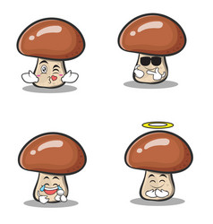 Collection set of mushroom character cartoon vector
