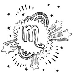 doodle pop astrology scorpio vector image