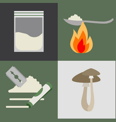 Drugs and mushrooms icons set vector