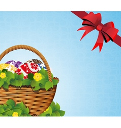 Easter Basket on a blue background vector image
