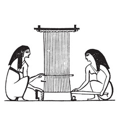 Egyptian weaving the use of the spindle and loom vector