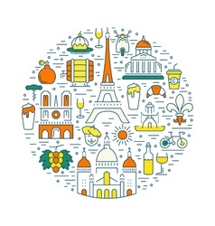 Flat line banner paris and france vector
