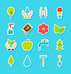 Gardening spring stickers vector