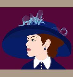 Girl in blue hat vector