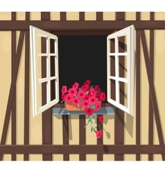 Half-timbered house window vector