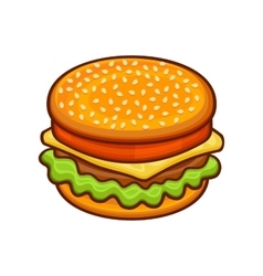 Hamburger Icon on White Background Cartoon Style vector image vector image