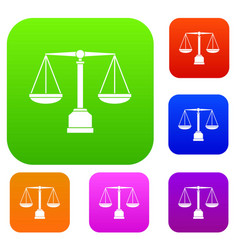 justice scale set color collection vector image