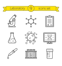 Laboratory tools linear icons set vector image