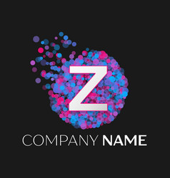 letter z logo with blue purple pink particles vector image