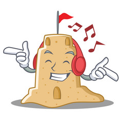 Listening music sandcastle character cartoon style vector