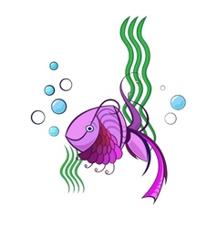 Little violet swimming fish vector