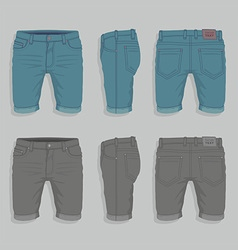 Men denim shorts vector