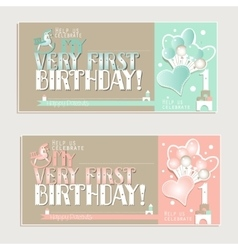 My very first birthday greeting cards for boy and vector