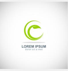 organic green leaf logo vector image vector image