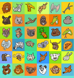 pattern with cartoon animals design vector image vector image