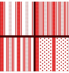 red striped polka dot patterns vector image vector image
