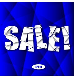 Sale Cut Paper Poster on Blue Background vector image vector image